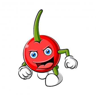 Cherry character design or cherry mascot
