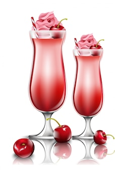 Cherry cocktail drinks, fresh smoothie in pink glasses