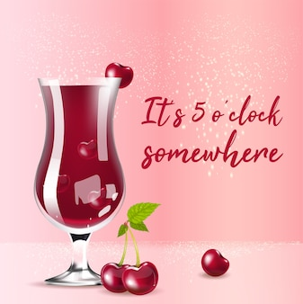 Вишневый компот реалистичный продукт в социальных сетях. летний напиток в стекле 3d дизайн макета рекламы с текстом. сейчас 5 часов где-то рекламный квадратный макет веб-баннера