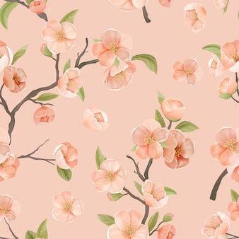 Вишневый цветок бесшовные модели с цветами и листьями на розовом цветном фоне. украшение обоев или оберточной бумаги, текстильный орнамент, декор цветущей сакуры для тканевого искусства. векторные иллюстрации