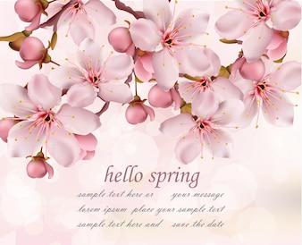 Cherry flowers branch spring card