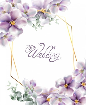Cherry flowers wedding card watercolor