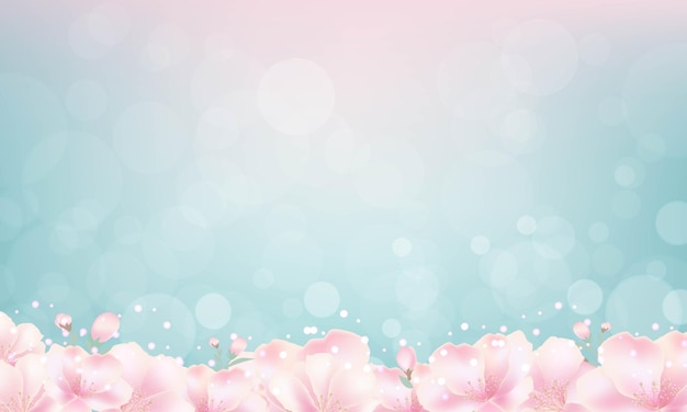 Bokeh 빛 배경으로 체리 꽃