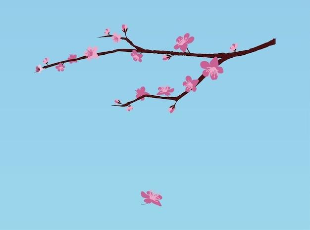 Cherry fresh blossom branch vector