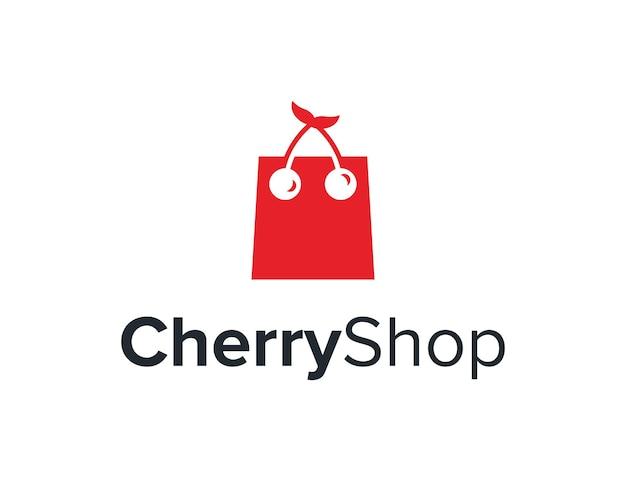 チェリーフルーツとバッグショップシンプルで洗練されたクリエイティブな幾何学的なモダンなロゴデザイン