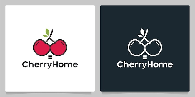 Cherry fruit home real estate isolated black and white background