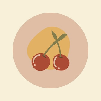 Adesivo icona frutta ciliegia, copertina evidenziata su instagram, illustrazione scarabocchio nel vettore di design tono terra