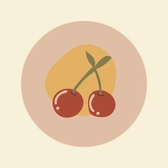 チェリーフルーツアイコンステッカー、instagramのハイライトカバー、アースカラーのデザインベクトルの落書きイラスト