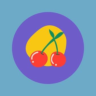 チェリーフルーツアイコンステッカー、instagramのハイライトカバー、カラフルなデザインのベクトルでレトロな落書き