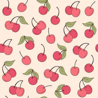 체리 과일 패턴 손으로 그린