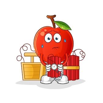 Cherry holding dynamite character. cartoon mascot