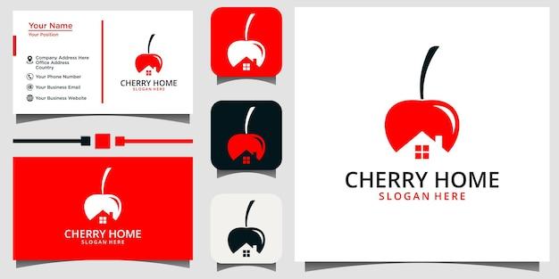 체리 홈 로고 디자인 벡터 템플릿 명함 배경