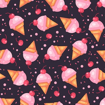 Cherry ice cream cone dark seamless pattern