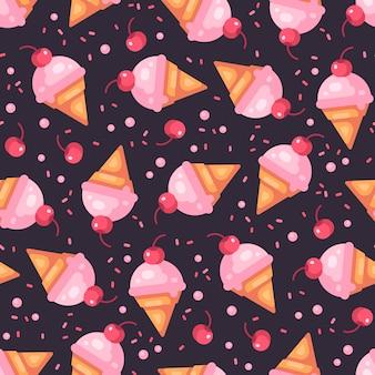 체리 아이스크림 콘 어두운 원활한 패턴