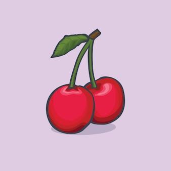 Вишня значок изолированные векторные иллюстрации с контуром мультфильм простой цвет