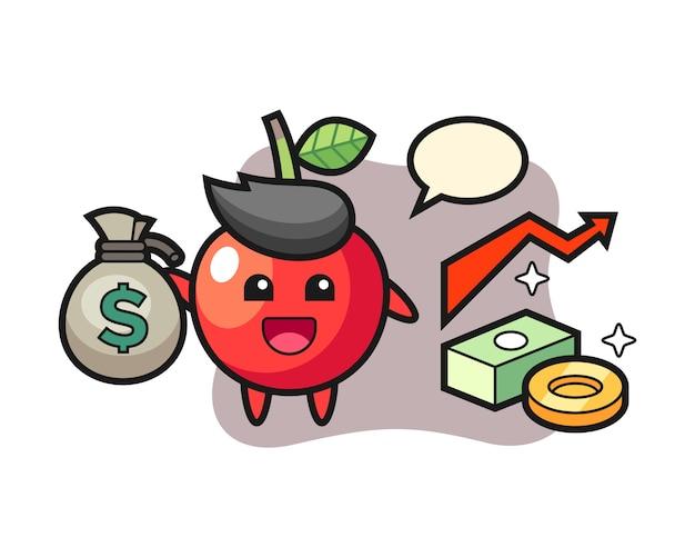 Cherry illustration cartoon holding money sack, cute style design