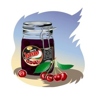 Cherry jam in the jar.