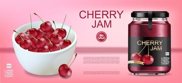Cherry jam realistic banner