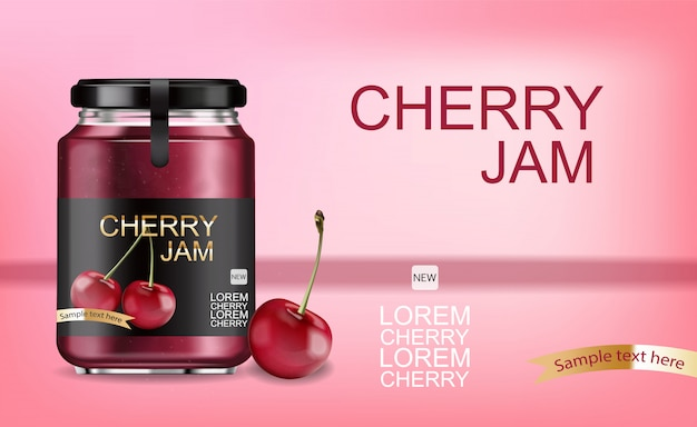Cherry jam realistic template
