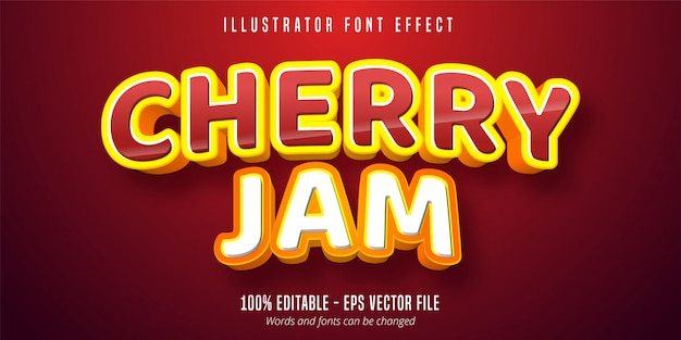 Cherry jam text,  editable font effect