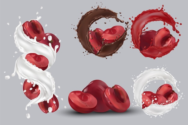 Вишневый сок, вишня в шоколаде, всплеск молока. коллекция свежей вишни. сладкий десерт. 3d реалистичная вишня. векторная иллюстрация