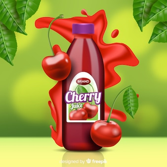 Cherry juice on abstract background