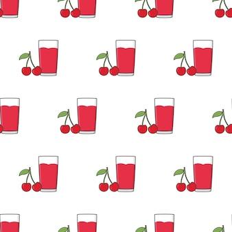 白い背景の上のチェリージュースのシームレスなパターン。さくらんぼのテーマのベクトル図