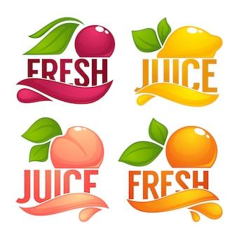 Вишня, лимон, апельсин, персик, коллекция фруктовых и ягодных соков, этикетки, наклейки и эмблемы.