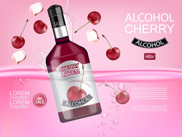 Cherry liquor bottle realistic banner