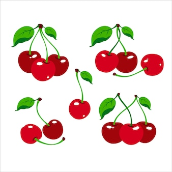 Cherry logo. cherry berry with leaves. isolated berries on white background. collection of different fresh cherry berry.  illustration.