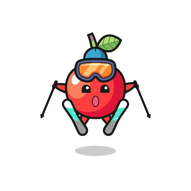 Персонаж вишневого талисмана как лыжник, милый стильный дизайн для футболки, стикер, элемент логотипа