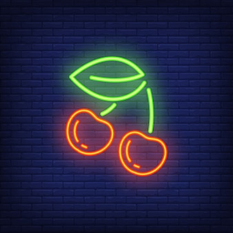チェリーネオンサイン要素。夜の明るい広告のためのギャンブルのコンセプト。
