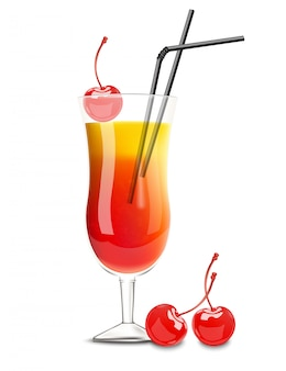 Cherry and orange cocktail glass