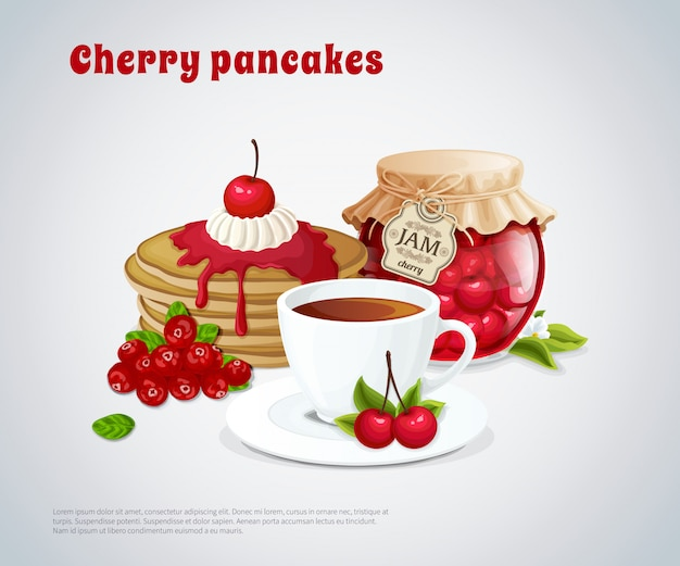 Cherry pancakes illustration