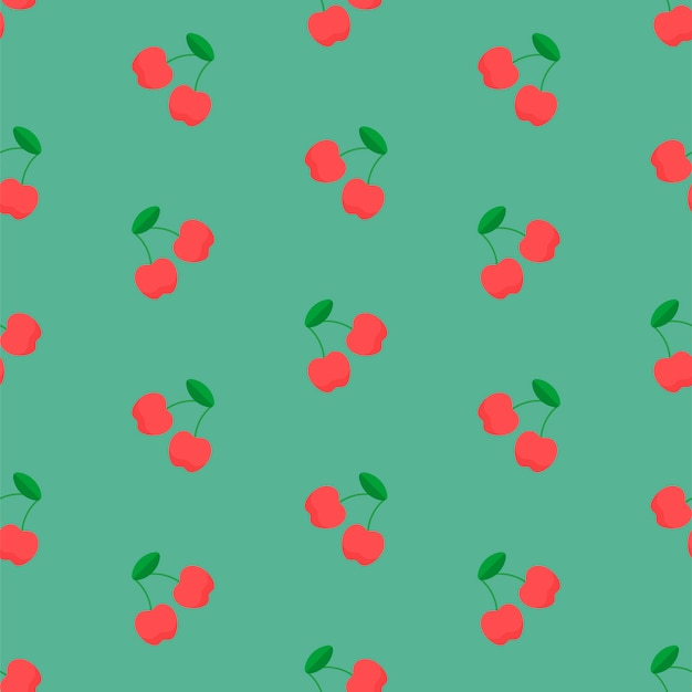 Cherry pattern on green