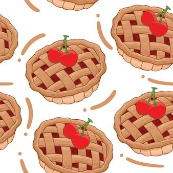 Cherry pie seamless pattern in flat design style