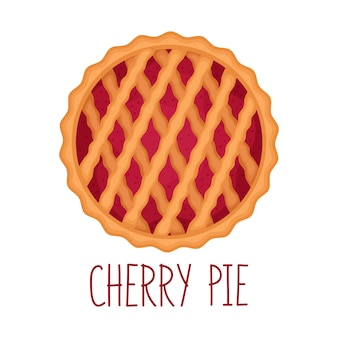 Cherry pie on white background, top view, vector illustration