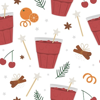 Cherry punch seamless pattern. winter traditional warming drink  . holiday hot beverage with orange, anise, cinnamon
