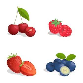 Cherry, raspberry, strawberry, and blueberry