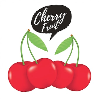 Cherry realistic fruit vector illustration