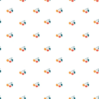 체리 원활한 패턴 배경 끝없는 간단한 베리 과일 질감 평면 벡터 일러스트 레이 션