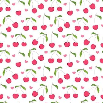 Cherry seamless pattern background.
