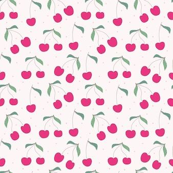 Cherry seamless pattern background.