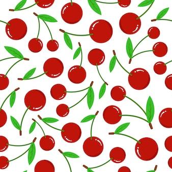 白い背景の上の桜のシームレスなパターン。緑の葉と新鮮な赤いベリーフラットベクトル図