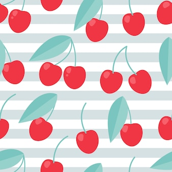 Cherry seamless pattern, summer background.
