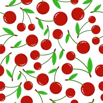 Cherry seamless pattern on white background. fresh red berry with green leaves flat vector illustration