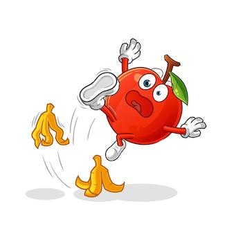 Cherry slipped on banana character. cartoon mascot