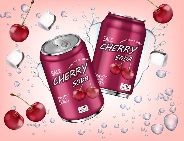 Cherry soda with ice cubes splash
