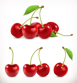 Cherry. sweet fruit. 3d  icons set. realistic illustration