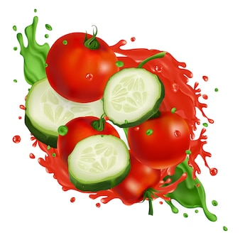 Cherry tomatoes and cucumber slices in splashes of vegetable juice